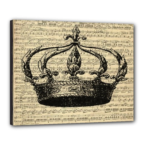 Vintage Music Sheet Crown Song Canvas 20  x 16