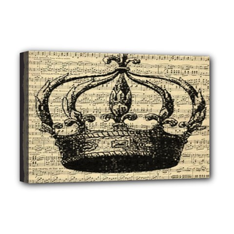 Vintage Music Sheet Crown Song Deluxe Canvas 18  X 12