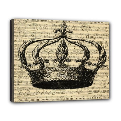 Vintage Music Sheet Crown Song Deluxe Canvas 20  x 16