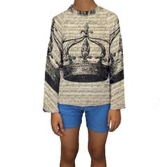 Vintage Music Sheet Crown Song Kids  Long Sleeve Swimwear