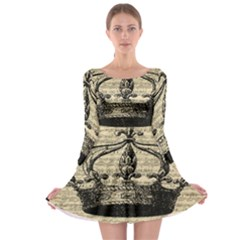 Vintage Music Sheet Crown Song Long Sleeve Skater Dress