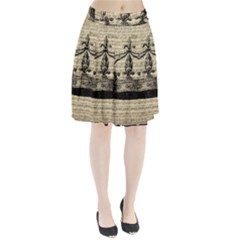 Vintage Music Sheet Crown Song Pleated Skirt