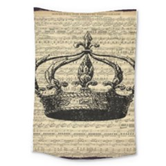Vintage Music Sheet Crown Song Large Tapestry