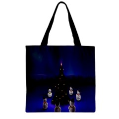 Waiting For The Xmas Christmas Zipper Grocery Tote Bag