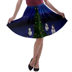 Waiting For The Xmas Christmas A-line Skater Skirt