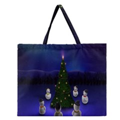 Waiting For The Xmas Christmas Zipper Large Tote Bag
