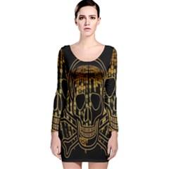 Virus Computer Encryption Trojan Long Sleeve Velvet Bodycon Dress