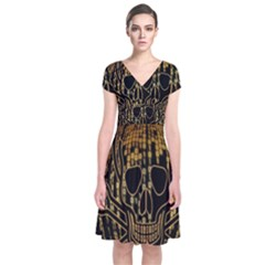 Virus Computer Encryption Trojan Short Sleeve Front Wrap Dress