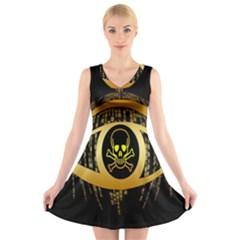 Virus Computer Encryption Trojan V-Neck Sleeveless Skater Dress
