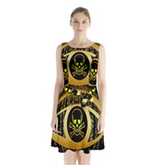 Virus Computer Encryption Trojan Sleeveless Chiffon Waist Tie Dress