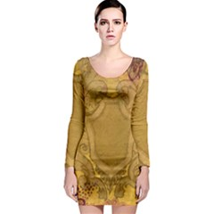 Vintage Scrapbook Old Ancient Long Sleeve Bodycon Dress