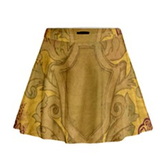 Vintage Scrapbook Old Ancient Mini Flare Skirt