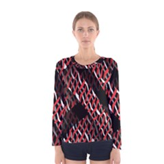 Weave And Knit Pattern Seamless Women s Long Sleeve Tee