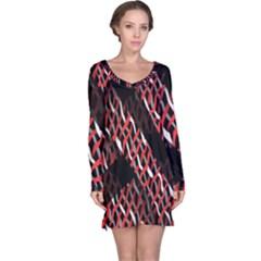Weave And Knit Pattern Seamless Long Sleeve Nightdress