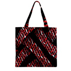 Weave And Knit Pattern Seamless Zipper Grocery Tote Bag