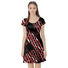Weave And Knit Pattern Seamless Short Sleeve Skater Dress