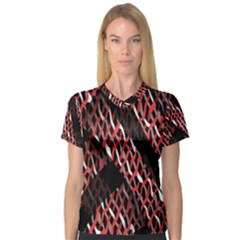 Weave And Knit Pattern Seamless Women s V-Neck Sport Mesh Tee