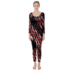 Weave And Knit Pattern Seamless Long Sleeve Catsuit