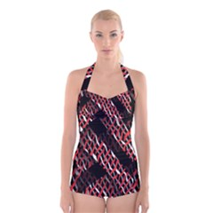 Weave And Knit Pattern Seamless Boyleg Halter Swimsuit
