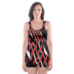 Weave And Knit Pattern Seamless Skater Dress Swimsuit