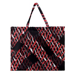 Weave And Knit Pattern Seamless Zipper Large Tote Bag