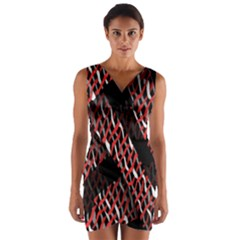 Weave And Knit Pattern Seamless Wrap Front Bodycon Dress