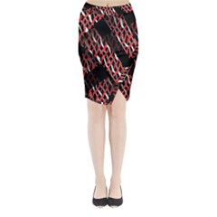 Weave And Knit Pattern Seamless Midi Wrap Pencil Skirt