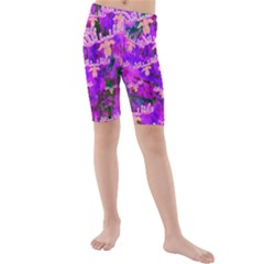 Watercolour Paint Dripping Ink Kids  Mid Length Swim Shorts