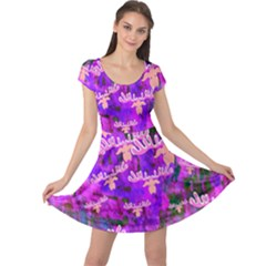 Watercolour Paint Dripping Ink Cap Sleeve Dresses