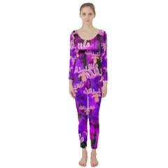 Watercolour Paint Dripping Ink Long Sleeve Catsuit