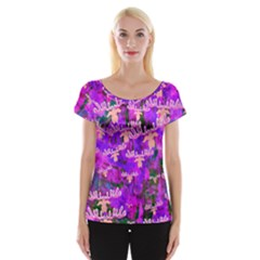 Watercolour Paint Dripping Ink Women s Cap Sleeve Top