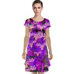 Watercolour Paint Dripping Ink Cap Sleeve Nightdress