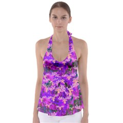Watercolour Paint Dripping Ink Babydoll Tankini Top