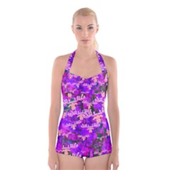 Watercolour Paint Dripping Ink Boyleg Halter Swimsuit
