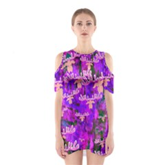 Watercolour Paint Dripping Ink Shoulder Cutout One Piece