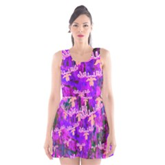 Watercolour Paint Dripping Ink Scoop Neck Skater Dress