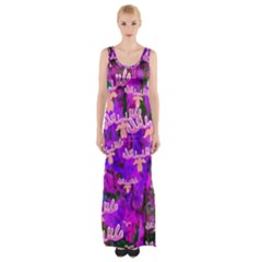 Watercolour Paint Dripping Ink Maxi Thigh Split Dress