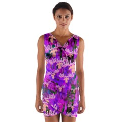 Watercolour Paint Dripping Ink Wrap Front Bodycon Dress
