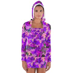 Watercolour Paint Dripping Ink Women s Long Sleeve Hooded T-shirt