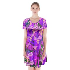Watercolour Paint Dripping Ink Short Sleeve V-neck Flare Dress