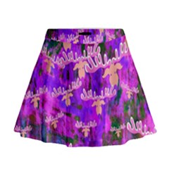 Watercolour Paint Dripping Ink Mini Flare Skirt