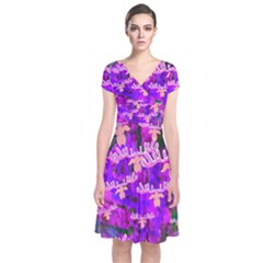 Watercolour Paint Dripping Ink Short Sleeve Front Wrap Dress