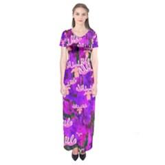Watercolour Paint Dripping Ink Short Sleeve Maxi Dress