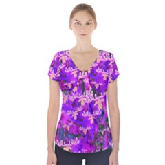 Watercolour Paint Dripping Ink Short Sleeve Front Detail Top
