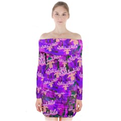 Watercolour Paint Dripping Ink Long Sleeve Off Shoulder Dress