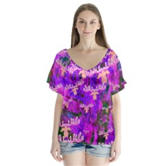Watercolour Paint Dripping Ink Flutter Sleeve Top
