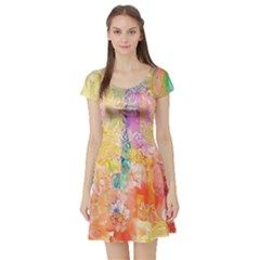 Watercolour Watercolor Paint Ink Short Sleeve Skater Dress