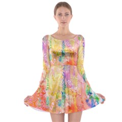 Watercolour Watercolor Paint Ink Long Sleeve Skater Dress