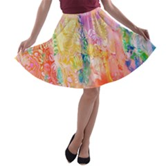 Watercolour Watercolor Paint Ink A-line Skater Skirt