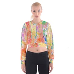 Watercolour Watercolor Paint Ink Women s Cropped Sweatshirt